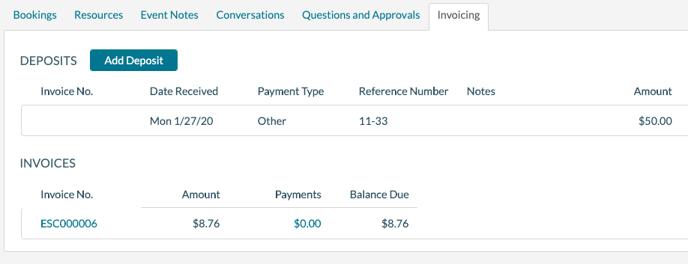 EE Invoice tab