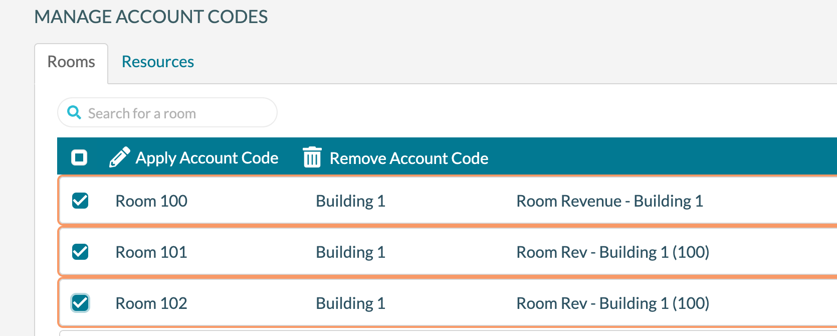 Account Codes - 2 selecting rooms