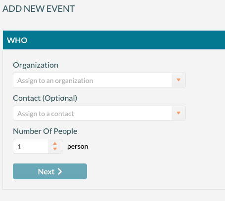 Add New Event - Enter Organization, Contact and attendance