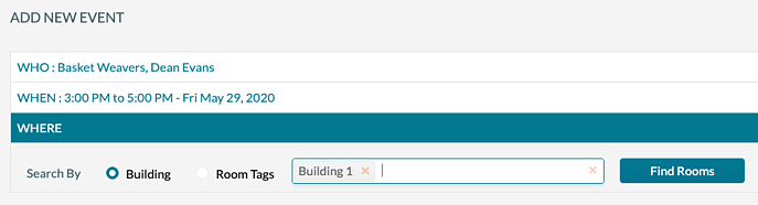 Add New Event - Select the building to search