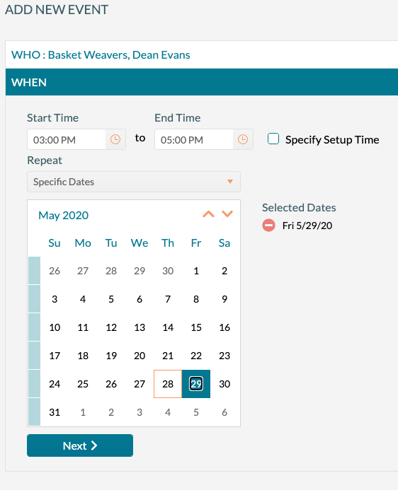 Add New Event - Select the date and time of the event