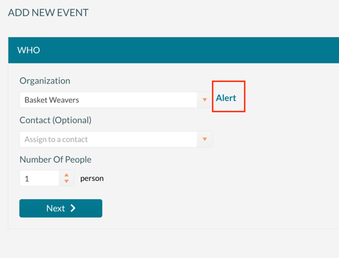 Add New Event showing the organization alert