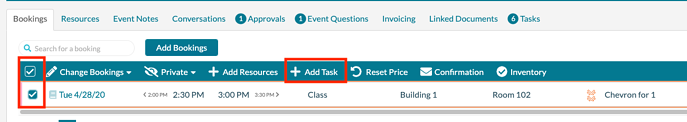 Add task to bookings