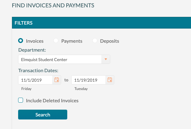 Applying payments - Locating invoice to pay
