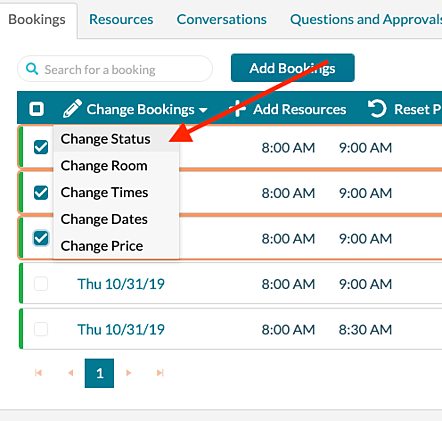 Change Status - select bookings