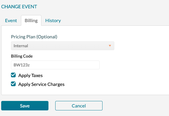 Changing billing information for an event