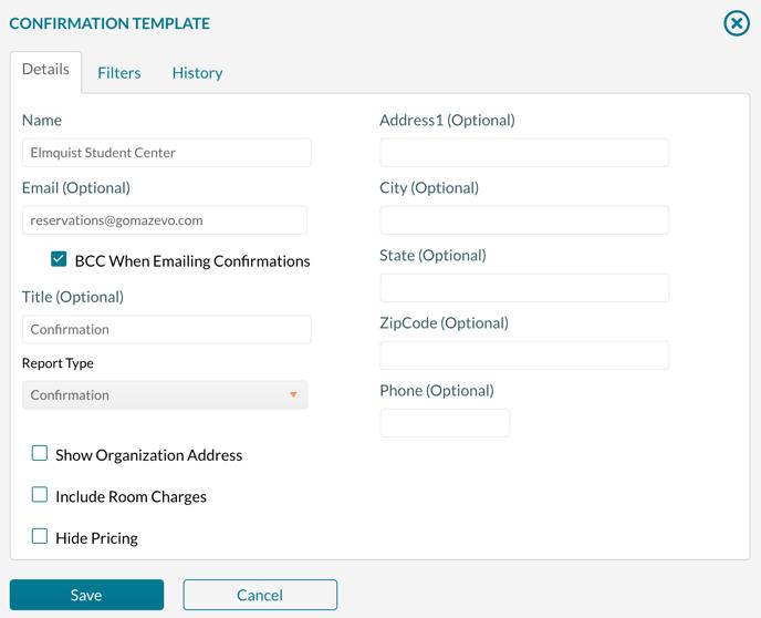 Confirmation Template configuration