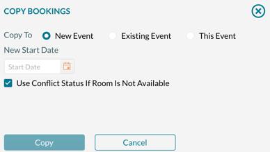Copy Bookings screen