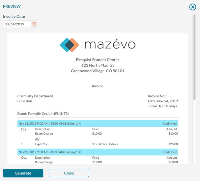 Create invoices - invoice preview