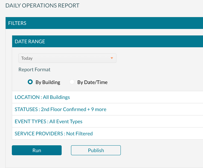 Daily Operations Report filtering screen