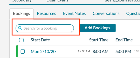 EE - Booking Filter