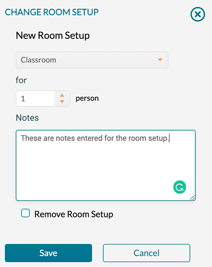 Entering a note for room setup