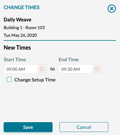 Event Book - Change the time of a booking