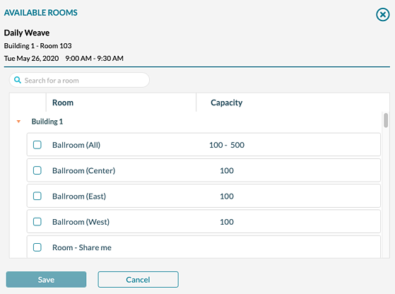 Event Book - Changing a room on a booking