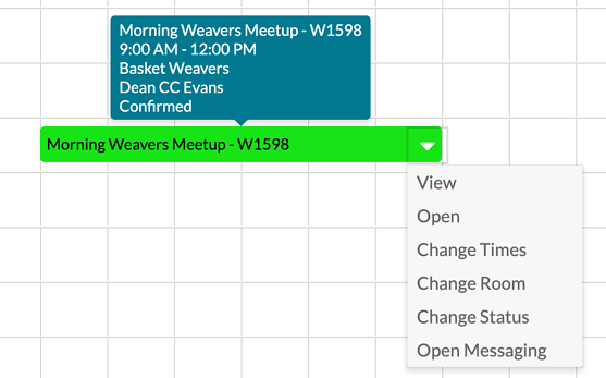 Event Book tools available from hover