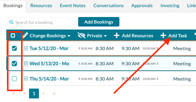 Event Editor - Adding a task to selected bookings