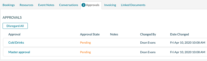 Event Editor - Approvals Tab
