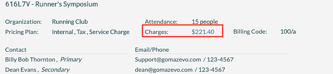 Event Editor - Total Charges for Event