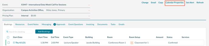 Event Editor highlighting the Calendar Properties link