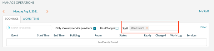 Filtering Manage Operations to work assigned to a staff member