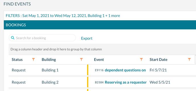 Find Events - Column Order