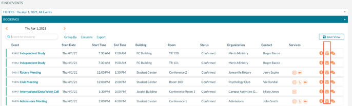 Find Events screen highlighting the calendar property editor button