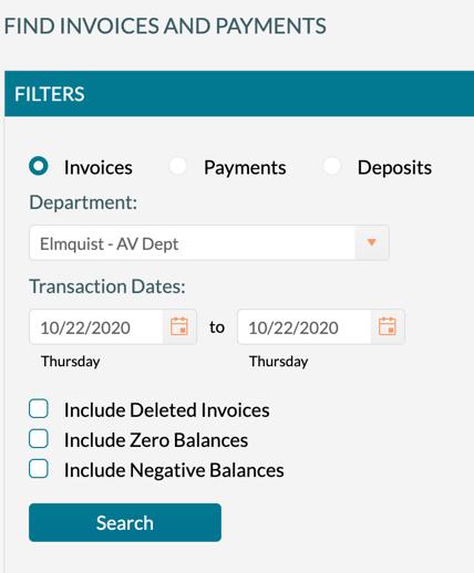 Find Invoice - Main Screen