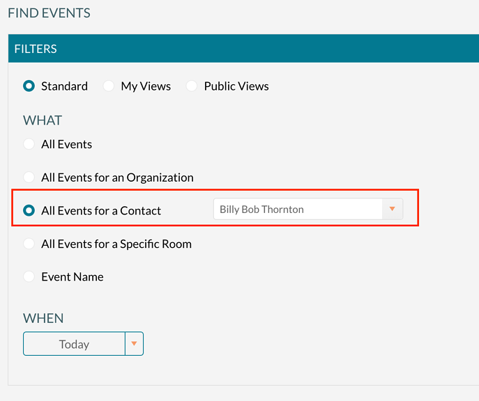 Finding all events for a contact