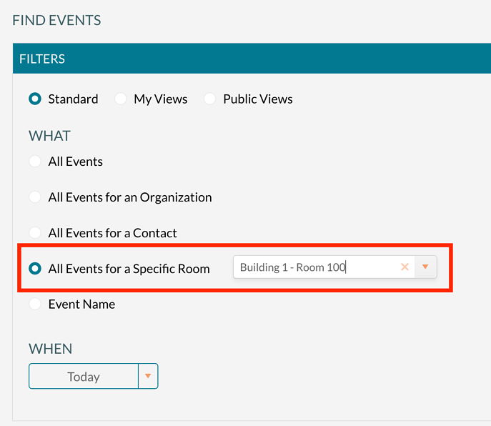 Finding events for a specific room