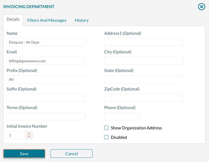 Invoicing Department form