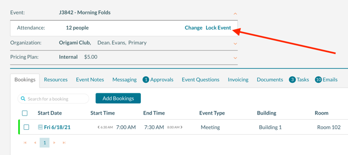 Locking an event to prevent changes by the requester