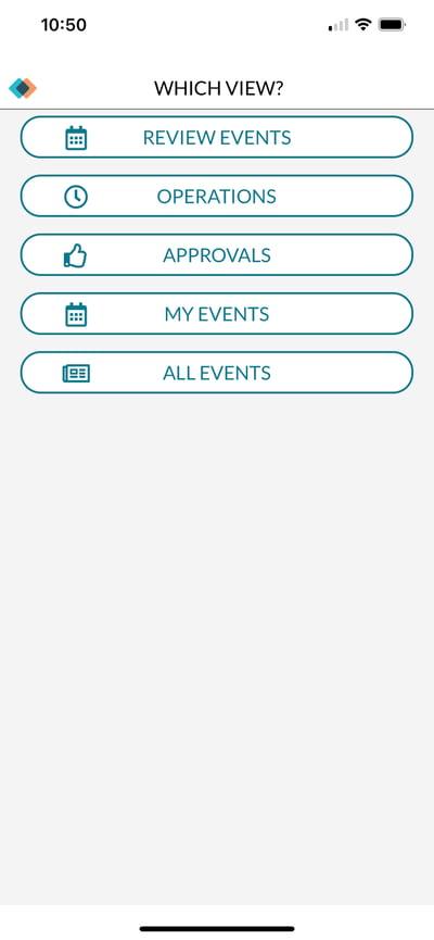 Main menu for Mazevo mobile app