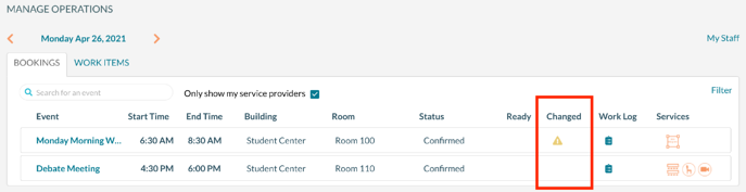 Manage Operations - Changed Icon for a booking -1