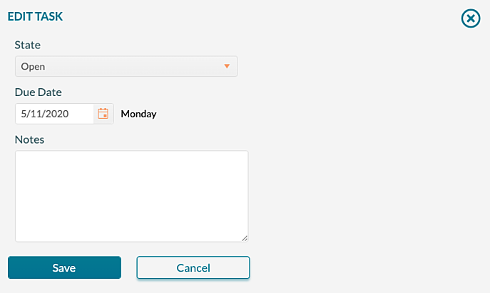 Manage Tasks - Editing a single task by clicking on the due date