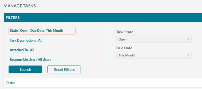 Manage Tasks - Filtering