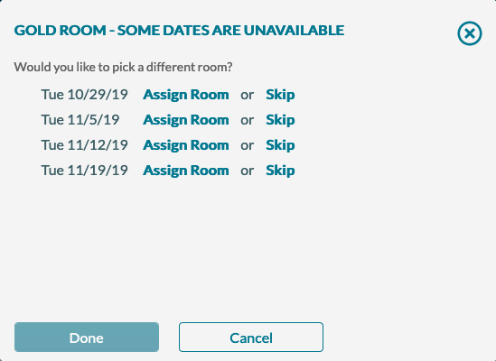 New Event Best Available Assign Room