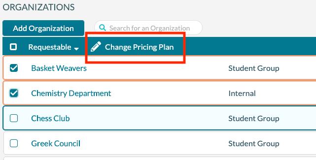 Organization - change pricing