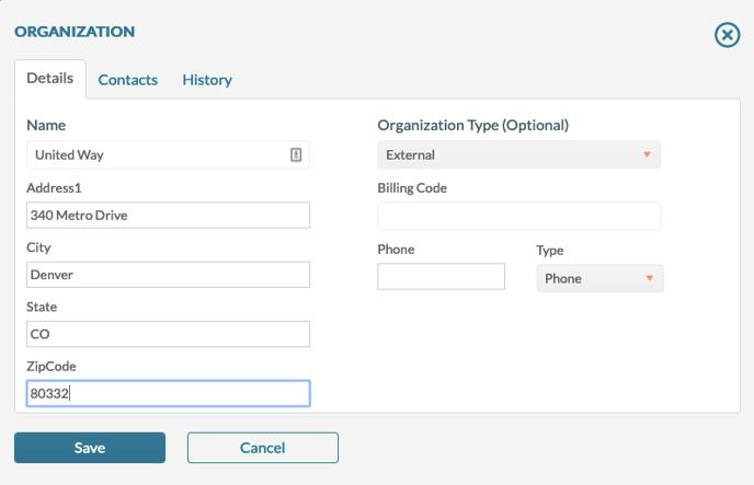 Organization Screen