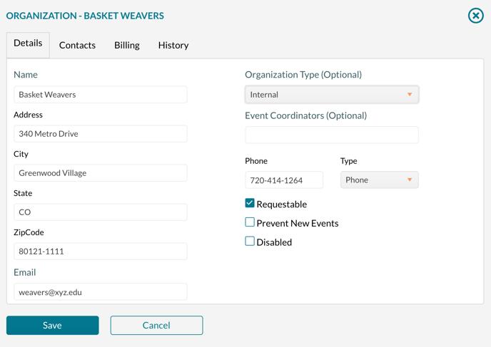 Organizations add and edit form