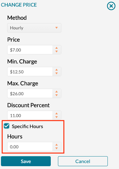 Pricing - specific hours