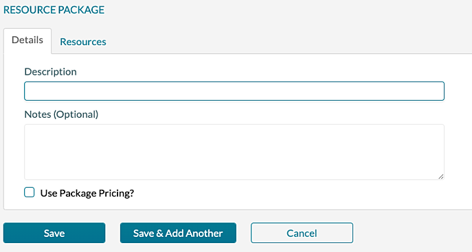 Resource Package - Detail tab