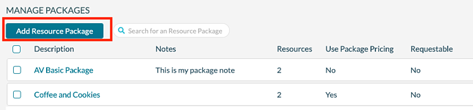 Resource Packages - add package