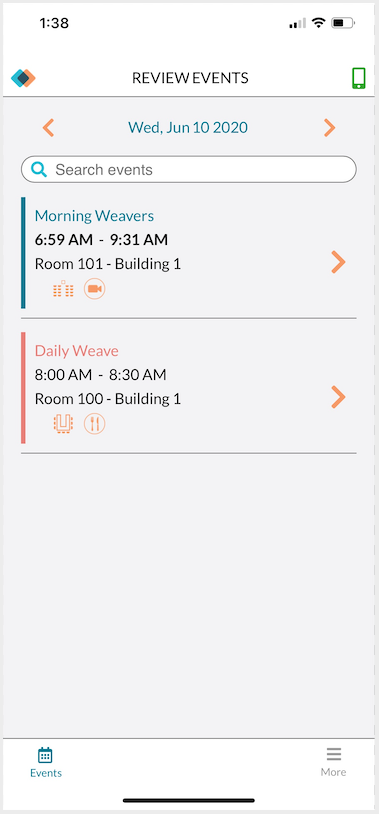 Review Events - Events for the day