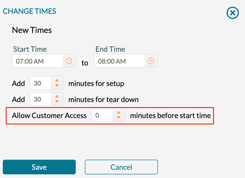 Specifying the access time when changing the times.
