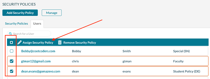 Security Policy - Assign to users