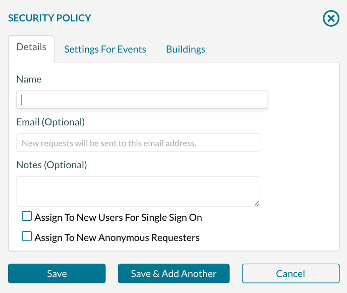 Security Policy - Standard - Adding a new policy