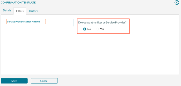Selecting which service providers display on a confirmation - step 1