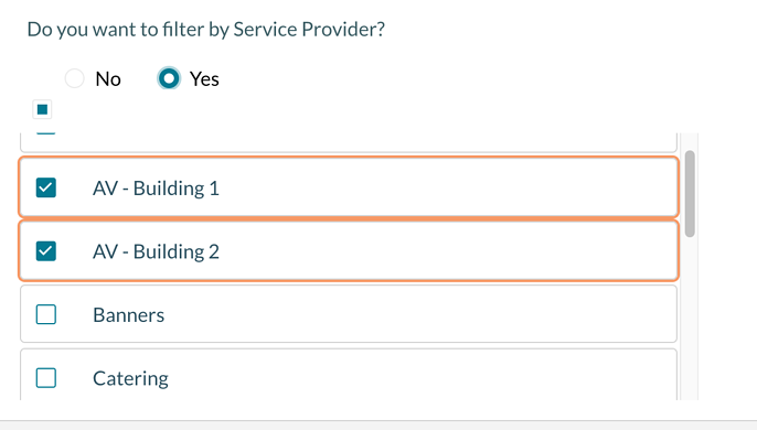 Selecting which service providers display on a confirmation - step 2 picking the providers