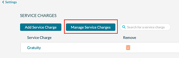Service Charges - Manage