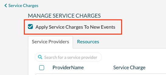 Service Charges - Set system wide default